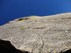 Rock Climbing Photo: Looking up the face of Wind with the locations of ...