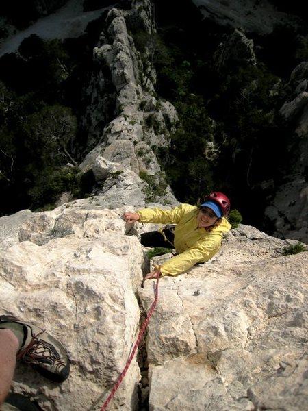 Rock Climbing Photo: Carol enjoying the last pitch of Saphir