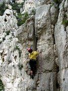 Rock Climbing Photo: The steepness awaits Carol on Face à la mer