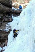 Rock Climbing Photo: Randy following thru on Lower Katterskills Falls C...