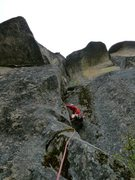 Rock Climbing Photo: the mossy approach pitch would be great if cleaned...