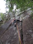 Rock Climbing Photo: Jessica leading off the big ledge, starting up 2nd...