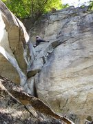 Rock Climbing Photo: Jessica leading the 2 pitches as one from the grou...