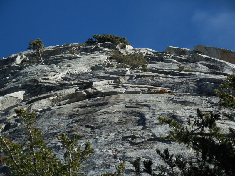 Rock Climbing Photo: Looking up at the route.  P3 climbs the undercling...