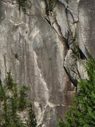 Rock Climbing Photo: the 3rd pitch, with the liquid gold chimney on the...