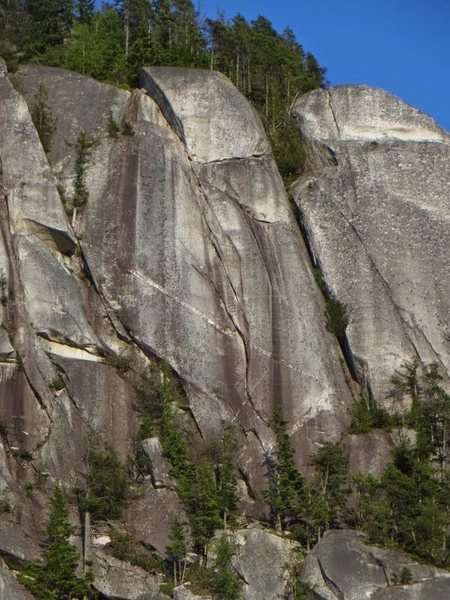Rock Climbing Photo: center of image is the last 70 meter pitch.