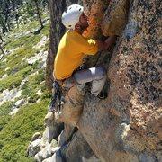 Rock Climbing Photo: Tyson cranking thru the crux.
