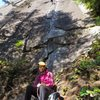 Jessica leading with the ever attentive Steph belaying