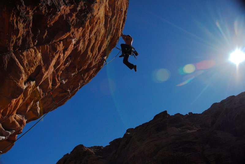 Topping out my first 5.12a onsite at Sunny And Steep, Red Rocks.
