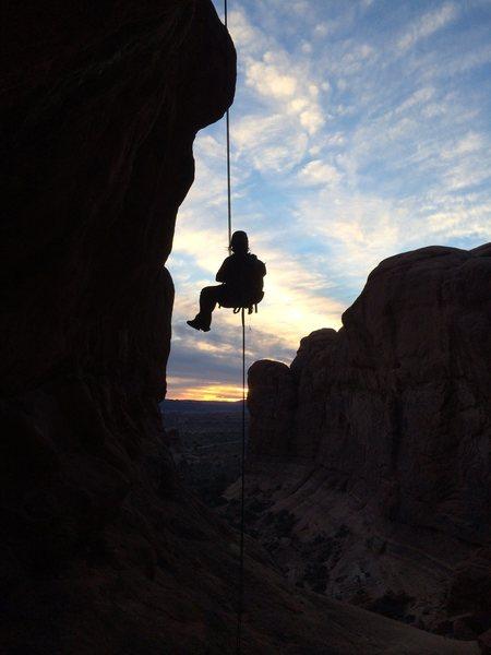 Rock Climbing Photo: Second rappel.