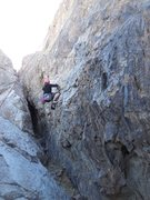 """Rock Climbing Photo: Taking a ride on """"My Bloody Valentine."""""""