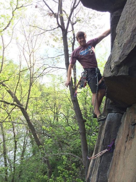 Rock Climbing Photo: leading Double Cracks at Taylor's Falls, MN