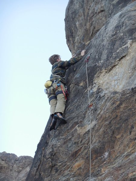"Rock Climbing Photo: Climber nearing the crux on ""Victoria's Secre..."