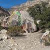 Road Boulder topo #2<br> 1. Stand Up V3<br> 2. Crack Attack V3<br> 3. Project<br> 4. Flak Attack V3+