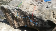 Road Boulder Topo #1 <br />1. Sandy V3 <br />2. Brush Off V1/2 <br />3. Fart Shoes V4 <br />4. Dark Hole V4