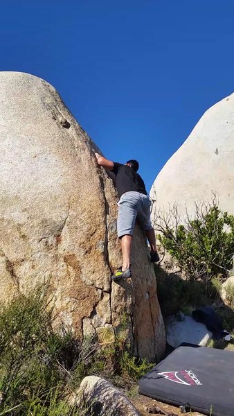 In the middle of the first crux
