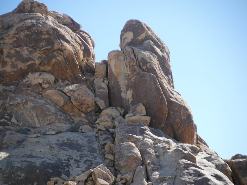 Rock Climbing Photo: Romper Room goes up the arete on the pillar just r...