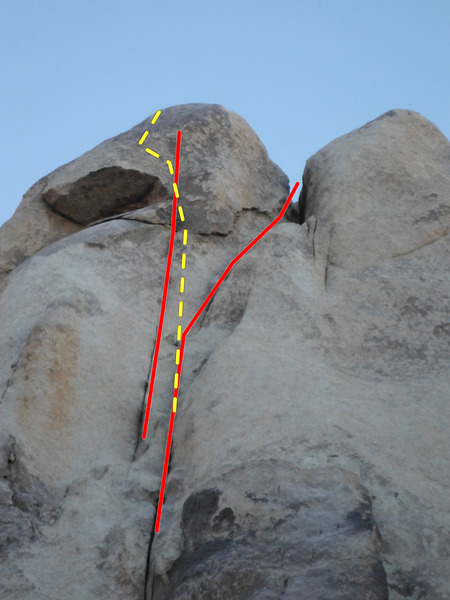 The top of Poaching Bighorn, instead of following the boring crack right, you can go left at the end - up the thin crack that ends just below the summit, foot traverse left along the lip of the roof and face climb to the top.  Its good.