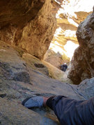 Rock Climbing Photo: From a few bolts up, looking down at belayer Chris...