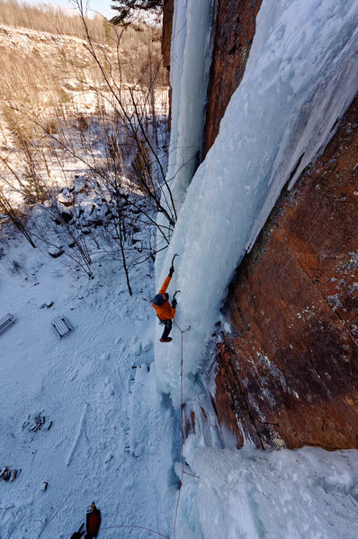 Tallest WI5 ice in Minnesota. Farmed ice at Stage Wall.