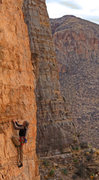 Rock Climbing Photo: Ed Strang at the low crux on Trojan Horse (5.11+)