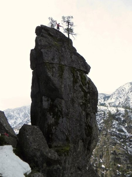 Rock Climbing Photo: a winter ascent of Piton Tower.