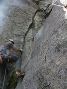 Rock Climbing Photo: the starting layback on the first ascent.