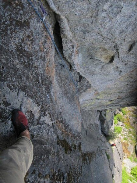 Rock Climbing Photo: looking down, we belayed about 80' up near big bus...