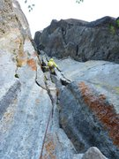 Rock Climbing Photo: P8,10b, another long excellent pitch, twin cracks ...