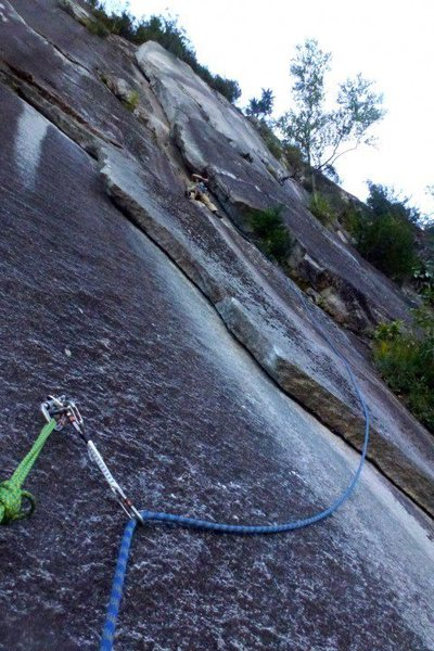 Rock Climbing Photo: heading into the 10a corner.The rope may suggest a...