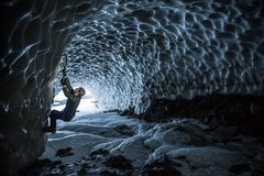 Rock Climbing Photo: Ice Bouldering inside the Damalanche