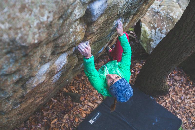 Rock Climbing Photo: Julie Ellison bearing down on Pocket Pool.