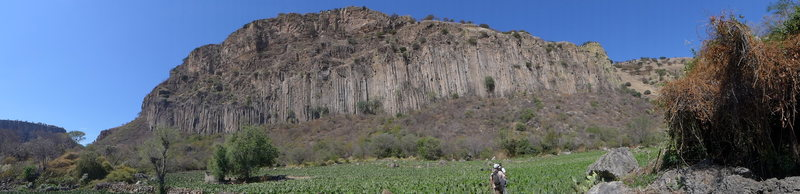 Panoramic shot of the main cliff fom the prickly pear field.