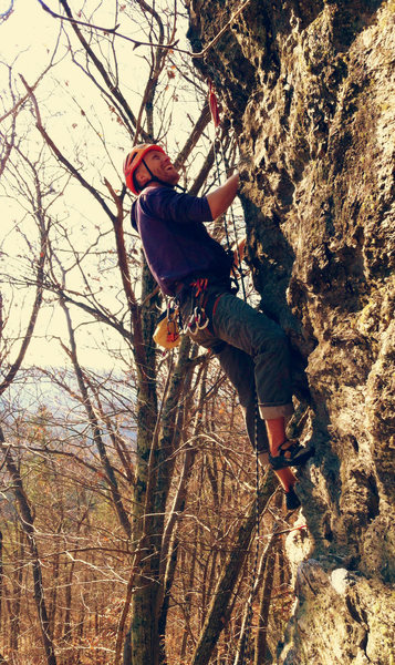"Rock Climbing Photo: ""Grinnin' time"", Just before the buldge...."