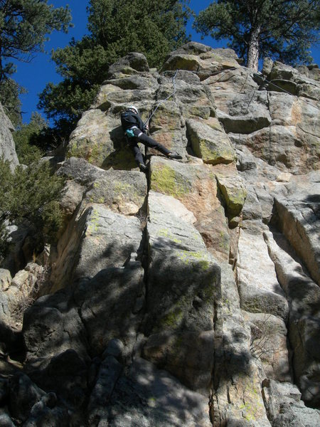 Rock Climbing Photo: Jackie climbs the warm rock.