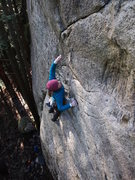 "Rock Climbing Photo: Caitlin clipping the last ""easy"" bolt be..."