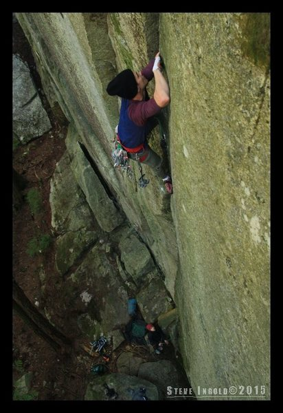 Rock Climbing Photo: Getting situated after the crux (transitioning fro...