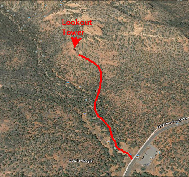 A Google Earth image with a rough markup of the approach. This approach will involve a little route finding, but should be fairly straightforward.