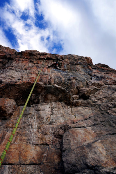 Rock Climbing Photo: Ken figuring out the moves on TR after my embarras...