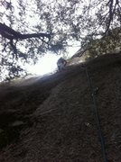 Rock Climbing Photo: Bryan on the first pitch of the direct route.