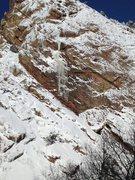 Rock Climbing Photo: It's in again, Black Walk ice, 2/27/15.