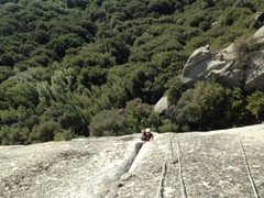Rock Climbing Photo: No tape, rock and roll.  Nate on the painful secon...