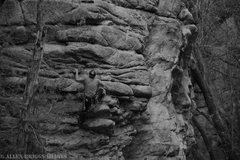 Rock Climbing Photo: Climber is on Monogamy 5.7, the furthest left rout...