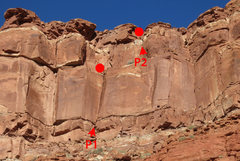 Rock Climbing Photo: An overview of the Original Route with belays mark...