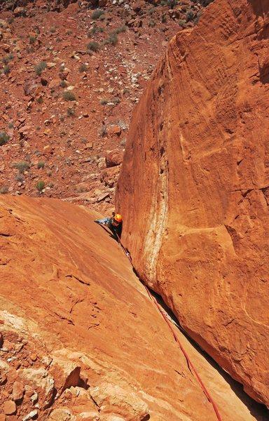 Rock Climbing Photo: Emily follows the clean corner of P1.