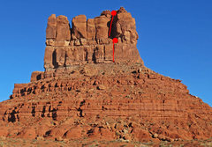 Rock Climbing Photo: The south face, with a rough markup of the route.