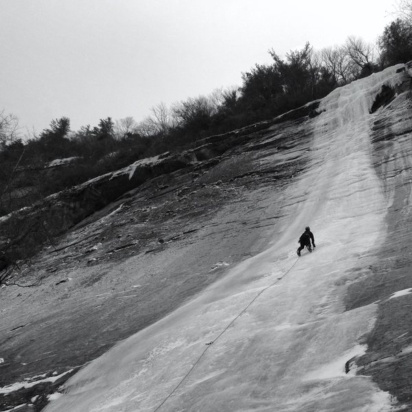 David Hurley leads up the first pitch of Starshine. Some fat North Carolina Ice.