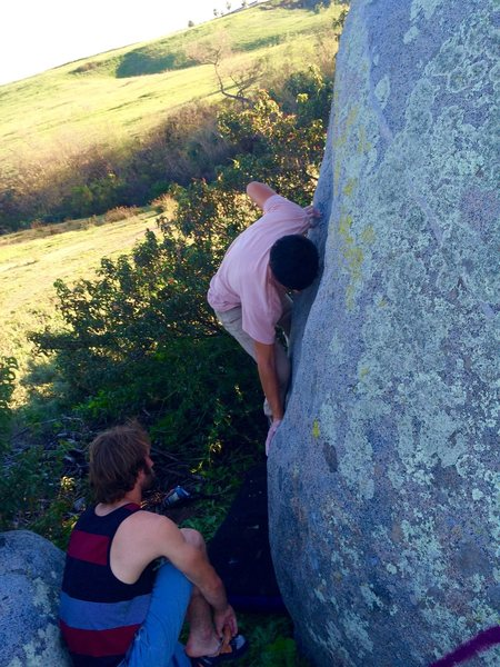 Rock Climbing Photo: John Martinez making easy work on the Mantel of PM...