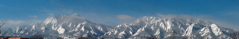Winter in the Flatirons, panorama from east Boulder.