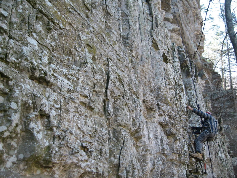 Rock Climbing Photo: Mike Gray, putting in bolts, from the anchor he in...